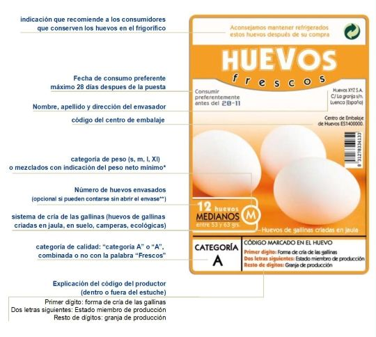 numeración en la cáscara del huevo y etiquetado