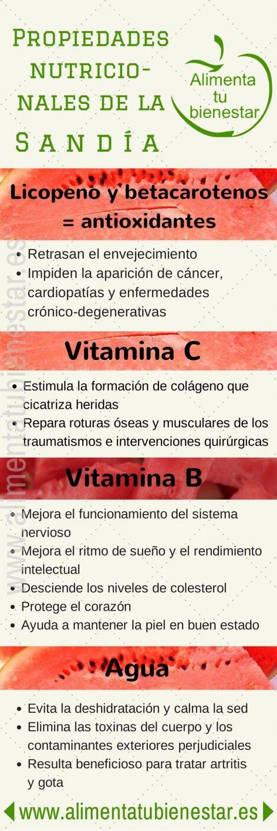 Propiedades nutricionales de la sandía Infografía