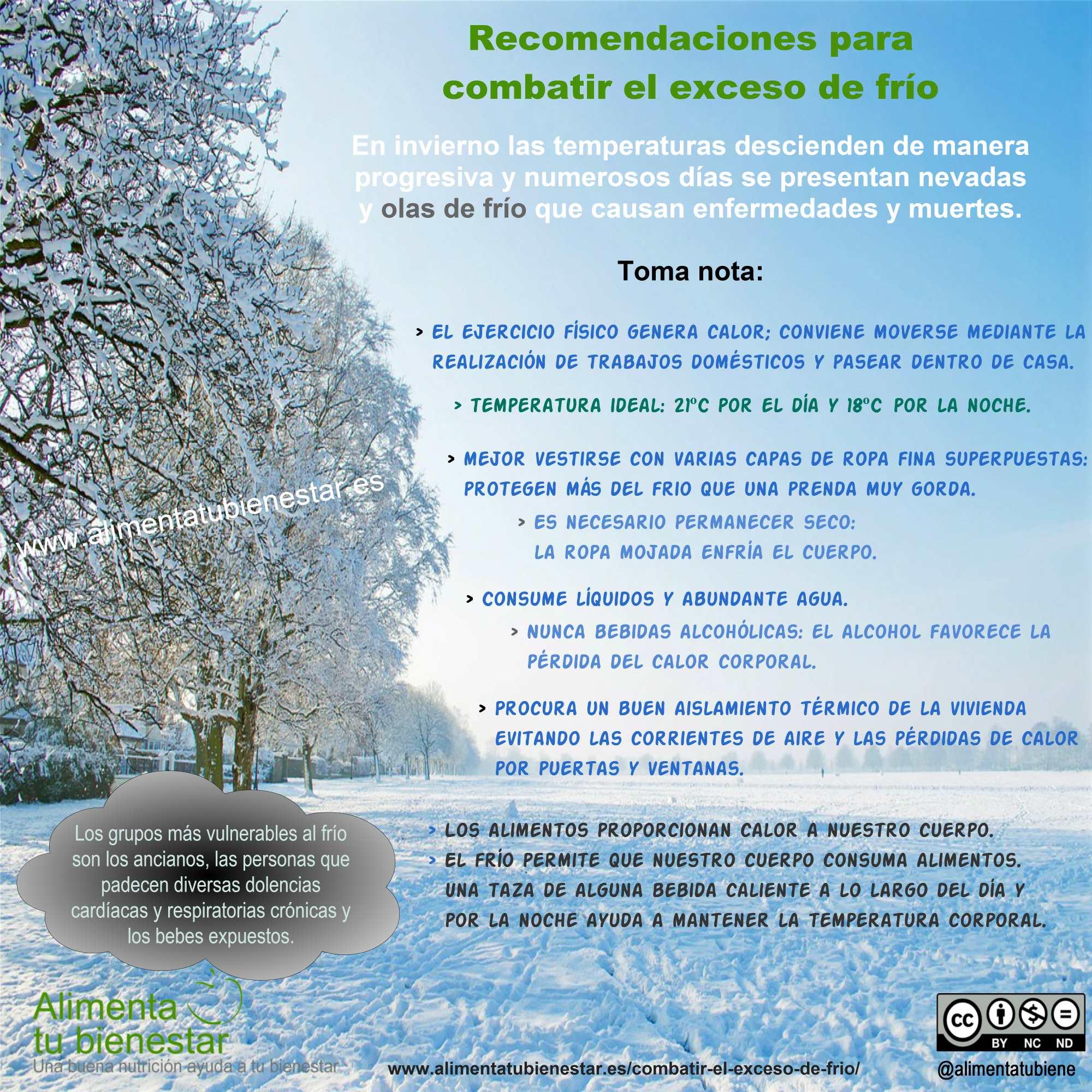 Medidas para combatir el exceso de frío